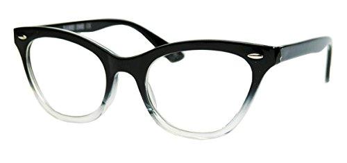 50er-jahre-damen-brille-cat-eye-nerdbrille-katzenaugen-hornbrille-clear-lens-farbverlauf-black-ombre