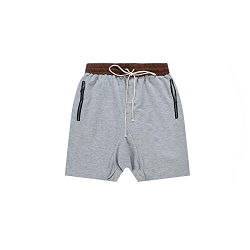 New Men Drop Crotch Boardshort Zippered Pocket Shirt Kanye West Justin Bieber Drawstring Summer Cargo Shorts Homme,Gray,S Mid Cut Uniform