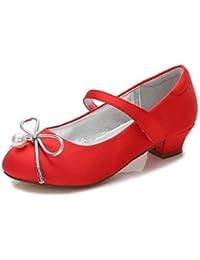 Wuyulunbi@ Las Niñas De Satén Zapatos Primavera Otoño Comodidad Bailarina Chica Flor Zapatos De Tacón Tobillo Bowknot Perla Perla De Imitación Gore Hebilla Gancho Y Bucle,Red,Us3 / Ue34 / Uk2 Niños Pequeños
