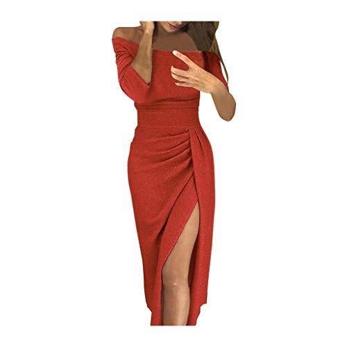 HULKY Vendita di Liquidazione Sexty Borsa Hip Abiti per Donne Premio Elegante Manica Lunga off Spalla Alta Fessura Sera Partito Mini Vestito(Anguria Rossa,Small)