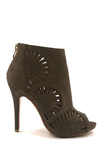 CHIC NANA . Chaussure Femme Mode Bottines Escarpins en effet daim, bout ouvert, motif perforet.