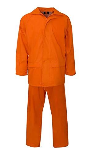 Fashion Feen Herren Regenanzug, langärmelig, reflektierendes Band, Sicherheits-Regenanzug, für Erwachsene Gr. S, Orange Plain Rainsuit Orange Rainsuit