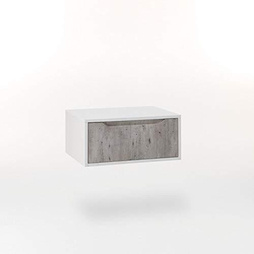 tft Mobile Bagno Sospeso 60 cm in Legno Belsk Bianco e Cemento
