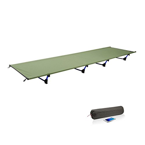 Feldbett, GraceU Ultraleichtes Campingbett, Aluminium Zelt Bett, Zusammengefaltet 50 cm x 13 cm, Gewicht 1,36 kg mit bis zu 200 kg Belastbarkeit