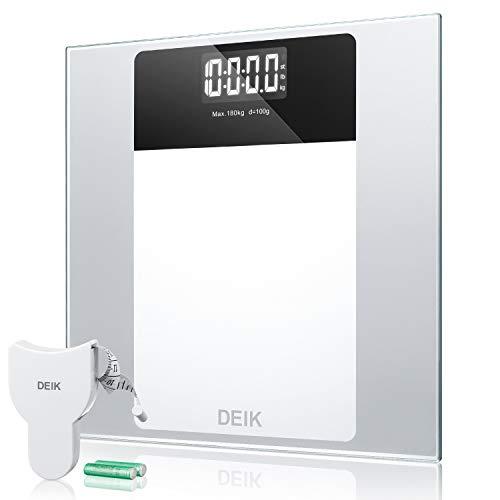 Deik Pèse Personne Electronique Balance Pese Personne, Verre Trempée LCD Grand Rétroéclairé Haute Stabilité Auto On/Off  incl. Ruban à mesurer et piles AAA, 180kg/400lb