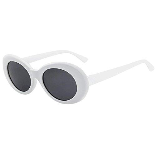 Ansenesna Sonnenbrille Verspiegelt Herren Damen Retro Vintage Unisex Gläser Rapper Oval Shades Grunge Brille (Grau)