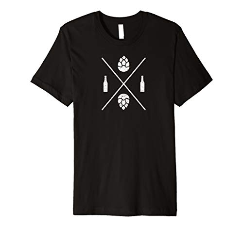 crossed beer and hops logo home brewer brew master t-shirt (Home Beer Brewer)