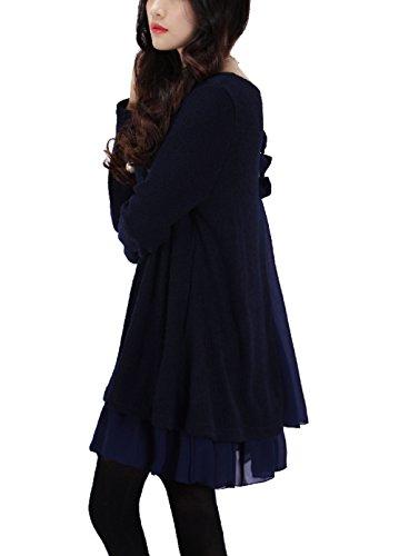P Ammy Fashion Women's Aline Knit & Chiffon Bow-Knot Jumper Mini Dresss Dark Blue Size UK 18