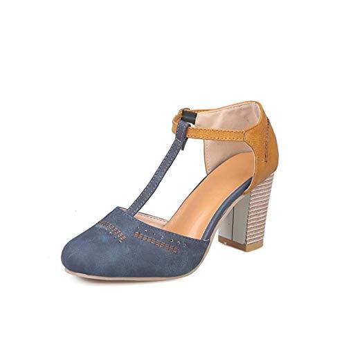 2019 New Sandals Women Leather Heel Platform Sandals Summer Shoes Square Heel Sandals Sandalias Zapatos de Mujer Blue 40