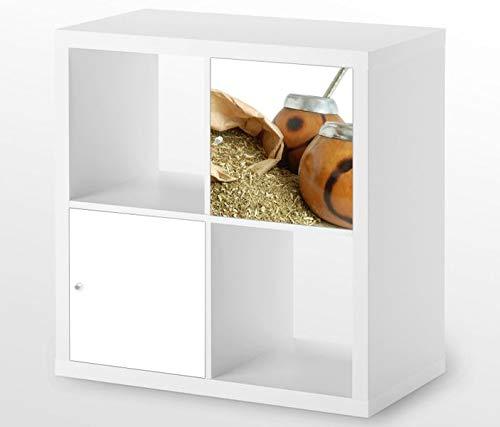 Möbelaufkleber für Ikea KALLAX / 1x Türelement Tee Mate Blätter Diät Gesundheit Kat4 Küche Aufkleber Möbelfolie sticker (Ohne Möbel) Folie 25D570