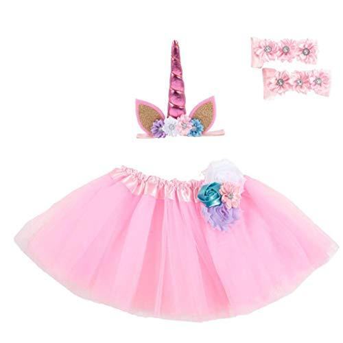 Zonfer Kleinkind-Kind-Baby-Mädchen-Kleidung Weihnachtsfest-Tutu mit Stirnband-Fuß-Set Prinzessin Girl Einhorn Rock-Kind-Kleidung (Pink)