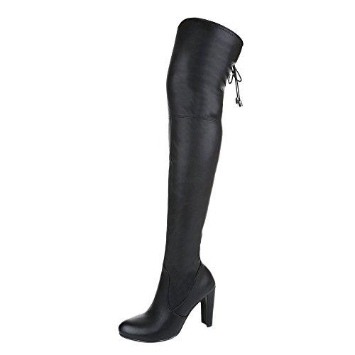 Overknee Stiefel Damenschuhe Klassischer Stiefel Pump Overknee Reißverschluss Ital-Design Stiefel Schwarz B2120