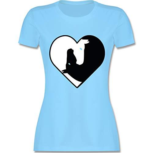 Pferde - Pferde im Herzen - XXL - Hellblau - L191 - Damen Tshirt und Frauen T-Shirt