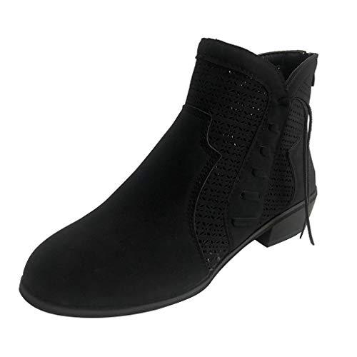 LILIHOT Frauen Square Heel Casual Short Booties Klassische Ankle Back Zip nackte Stiefel Damen Schlupfstiefel Elegant Kurz Stiefel Herbst Stiefeletten Frauen Mode Flache Schuhe Ankle Boots -