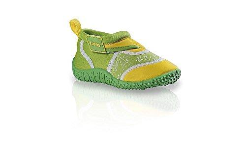fashy® Kleinkinder Outdoor Sport- und Schwimmschuhe Aquaschuhe aus Neopren und Mesh mit Klettverschluss und TPR-Sohle, Grün-Gelb, 25 EU
