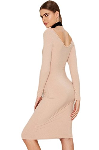 Sexy Scoop Neck Manches Longues Low Dos Midi Mi-longue Bodycon Fourreau Moulante Ajustée Dress Robe Rose Rose