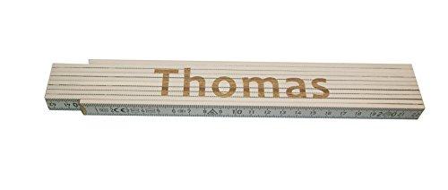 Preisvergleich Produktbild Persönlicher Zollstock / Meterstab weiß mit Gravur Thomas