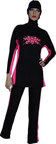 Pour Kostüm Femme - Select pour Femme islamique musulman de Costumes Modeste Maillot de bain pour femme Black-Pink grand