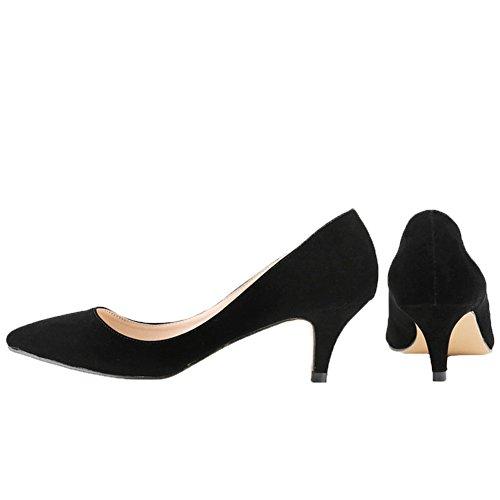 HooH Femmes Flanelle Kitten Heel Bout pointu Work Robe Escarpins Noir