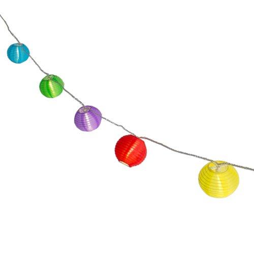 Plaights Lampion Lichterkette mit 20 LED's in bunt | Sommerlichterkette für draußen mit Timer Funktion | perfekte Dekoration für Garten, Terrasse, Balkon, Party und Feiern (Papier-laternen Mit Beleuchtung)