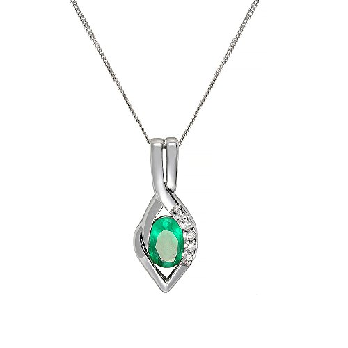 Ivy Gems 9ct White Gold Emerald and Diamond Twist Pendant