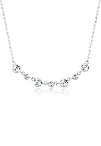 Elli Damen Halskette 925 Sterling Silber mit Swarovski Kristallen von Swarovski 45 cm weiß