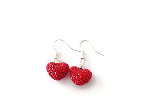 SHAMBALLA SPARKLY BRIGHT RED 15mm HEART DROP EARRINGS - 925