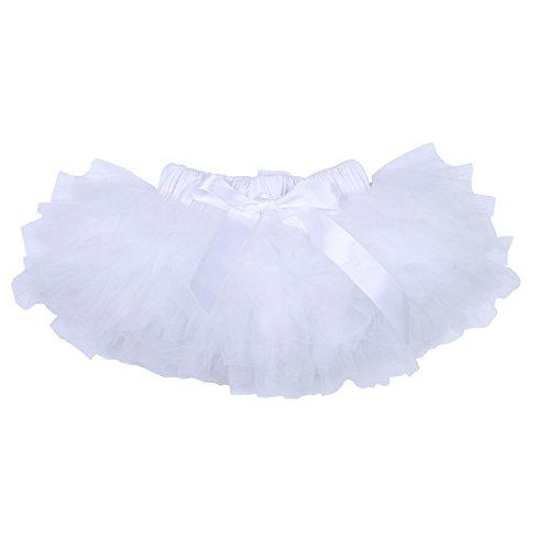 BabyPreg Niña Falda del tutú, Bailarina de 6 Capas (Blanco, L / 12-24 Meses)