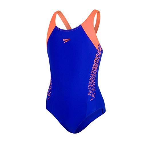 Speedo Mädchen Boom Splice Badeanzug, blau (Ultrasonic/Fluo Orange), 140 (9 - 10 ()