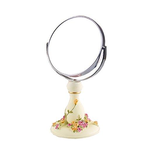 JILAN HOME Mirror- Schönheit Vanity Spiegel Make-Up Desktop-Dressing Spiegel Doppelseitige verstellbare runde Harz 6 Zoll High-Definition tragbare Spiegel zu Fuß Stand mirror