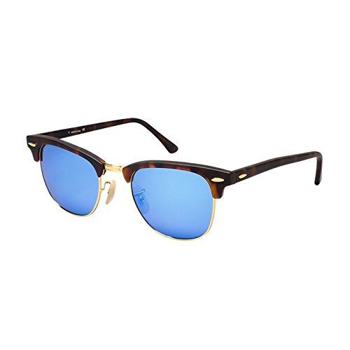 Silver Kartz Luxury Mercury Clubmaster Semi-Rimelss Unisex Sunglasses (wy128 30 Blue Mercury)