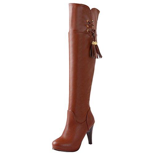AIYOUMEI Damen Overknee Stiefel mit Reißverschluss und Fransen Stiletto High Heels Elegant Modern Winter Stiefel