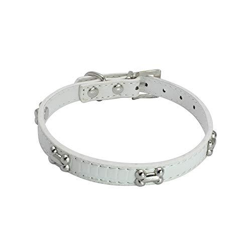 Balock Schuhe Hundehalsband,Welpenhalsband Verstellbare Schnalle Knochen Halskette Hundehalsband Halskette,für kleine Hund (Weiß, L) - Knochen-leder-schuhe