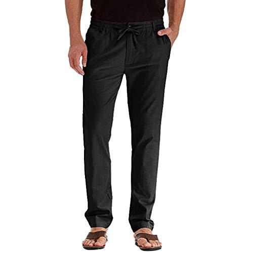 Männer Casual Leinen atmungsaktiv lose Lange Hosen einfarbig gerade Hosen Ramie solid Color Casual Trousers Marine Schwarz Weiß Grün M 4XL