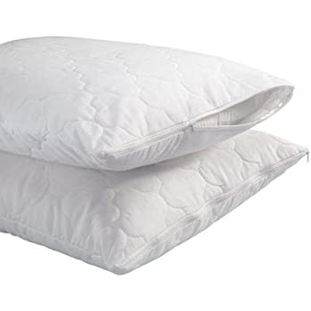 Trance Home Linen Cotton Quilted Pillow Protector Dust Free Water Resistant Covers Pack Of 2Pcs (20 X 30)