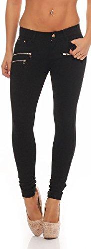 malito Bootcut-Pantaloni Jeans Hipsters Pantaloni Pump Tubo Casuale Base H86 Donna (40, nero)