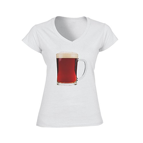 Beer Drink Oktoberfest Glass Dark Pint Damen V-Neck T-Shirt Weiß