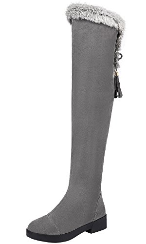 BIGTREE Oberschenkel Stiefel Damen Winter Warm Pelz Faux Wildleder Overknee Stiefel Grau 35 EU -