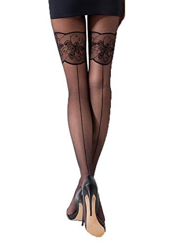 Passion Dessous Damen Strumpfhose mit Muster schwarz transparent 20 DEN 2
