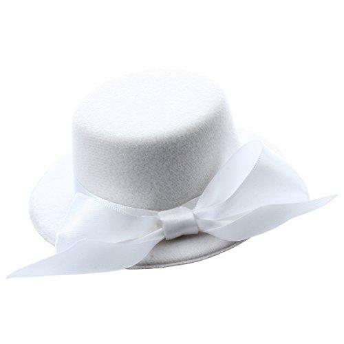 SODIAL (R) Mini Chapeau Haut de Forme Chapellerie avec Bowknot Noeud Papillon pour les Femmes blanc