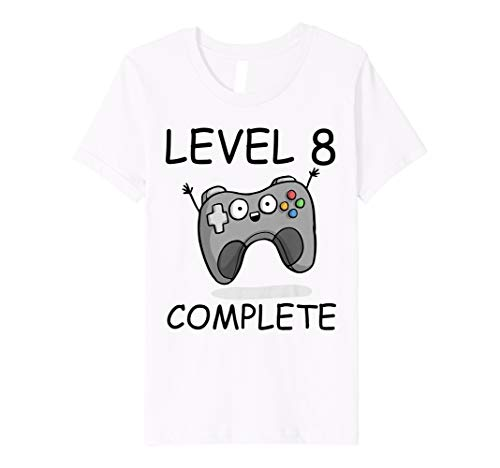 Youth Gamer Birthday Shirt 8 Level Complete Boys