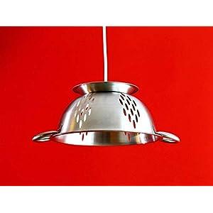 Edelstahl Lampe, Küchenlampe, Sieblampe, Hängelampe aus einem Standsieb, Nudelsieb, Seiher, Salatsieb