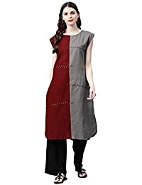 Indi lite Women Grey & Maroon Sequins Work Cotton Extended Sleeves A-Line Knee Length High-Low Kurta