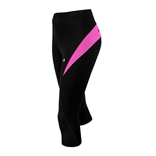ROUGH RADICAL Damen Funktions Laufhose Fitness Hose FLEXY 3/4 (L, schwarz/pink)
