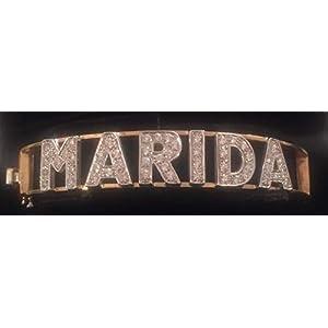 Bracciale rigido a manetta in Argento 925 con lettere in Argento e Cubic Zirconia qualità AAA extra