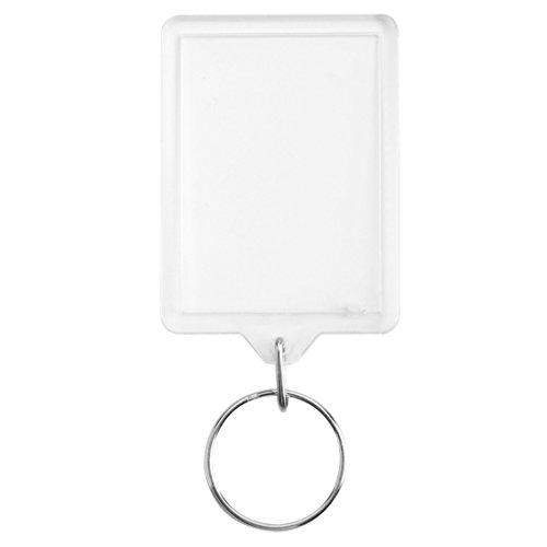 SNOWINSPRING 100pcs 50 x 35mm New Blank Plexiglas Fotoschluesselanhaenger Pass Keyrings