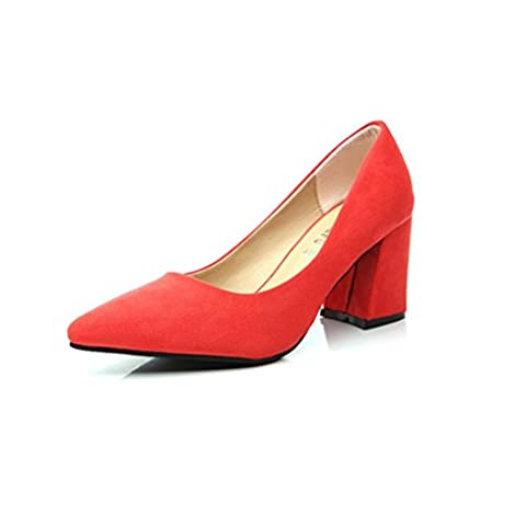 QPYC Ladies Women's Black High Heels Rough With Pointed Mid Heel Single Shoes , watermelon red , 34