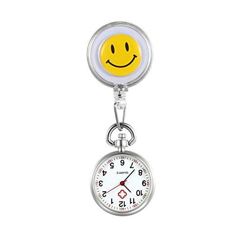LANCARDO Uhren, Krankenschwester Armbanduhr FOB-Uhr Damen Lächeln Digitale Analog Revers Stretch Taschenuhr (Weiss) -