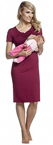 Happy Mama. Damen Umstands-Nachthemd mit Stillfunktion. Stillshirt Kurzarm. 274p Purpur