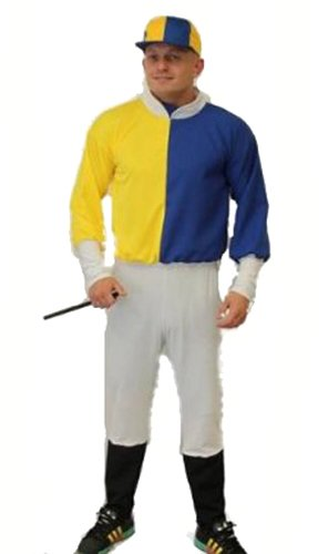 Bleu & Gelb Dragons Den Fancy Kleid Kostüm de Jockey élastique Größe Einzigartige (Tour de Poitrine JUSQU bis 44